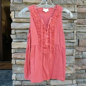 Anthropologie Deletta Lace up Babydoll Top Small